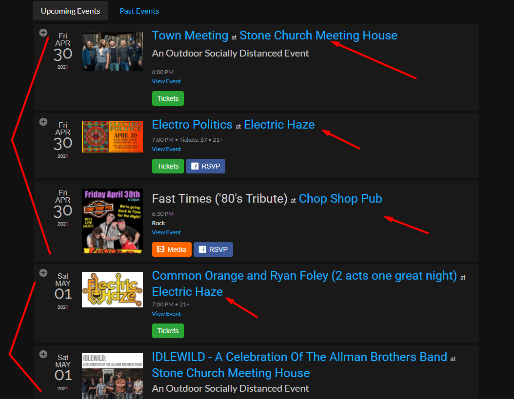 Multiple Venues or Artists in One Event List for embedding on WordPress Websites